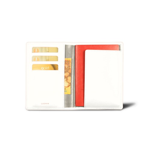 Passport and loyalty cards holder - White - Smooth Leather