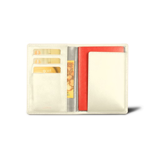 Passport and loyalty cards holder - Off-White - Smooth Leather