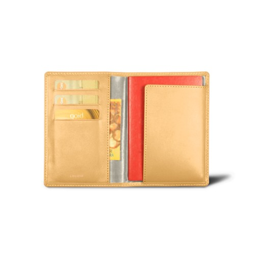 Passport and Loyalty Card Holder - Mustard Yellow - Smooth Leather