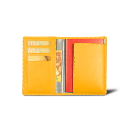 Passport and loyalty cards holder - Sun Yellow - Smooth Leather