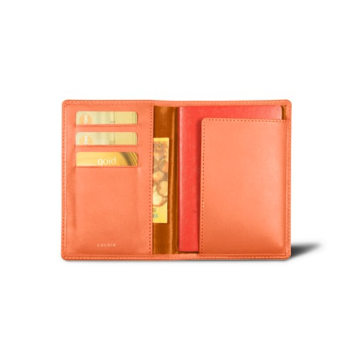 Passport and loyalty cards holder - Orange - Smooth Leather
