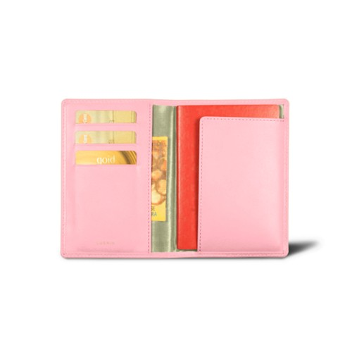 Passport and Loyalty Card Holder - Pink - Smooth Leather