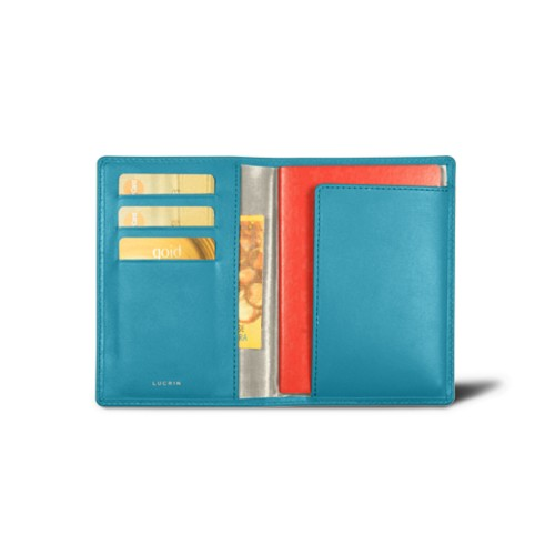 Passport and loyalty cards holder - Turquoise - Smooth Leather