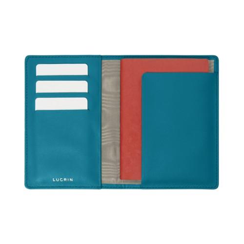 Étui passeport et carte de fidélité - Turquoise - Cuir Lisse