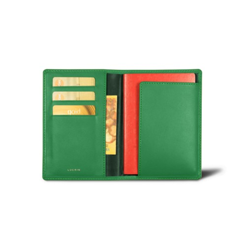 Passport and loyalty cards holder - Light Green - Smooth Leather