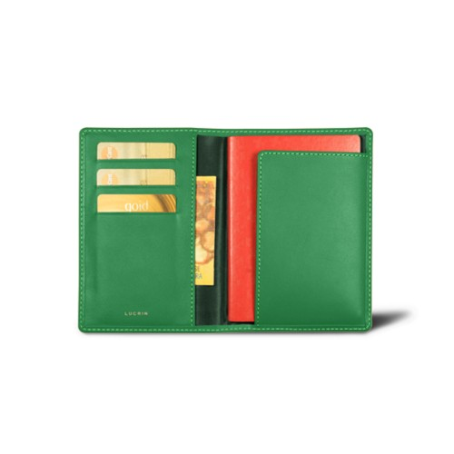 Passport and Loyalty Card Holder - Light Green - Smooth Leather