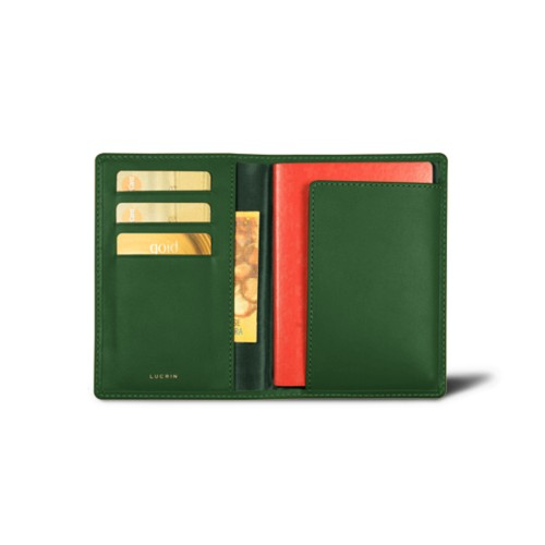Passport and Loyalty Card Holder - Dark Green - Smooth Leather