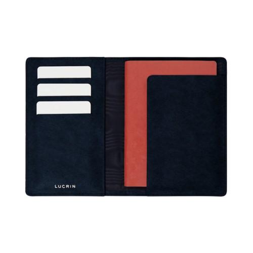 Étui passeport et carte de fidélité - Bleu Marine - Cuir végétal