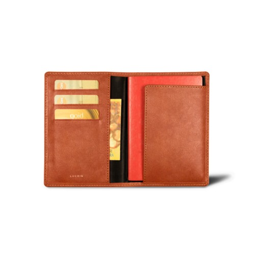 Passport and loyalty cards holder - Tan - Vegetable Tanned Leather