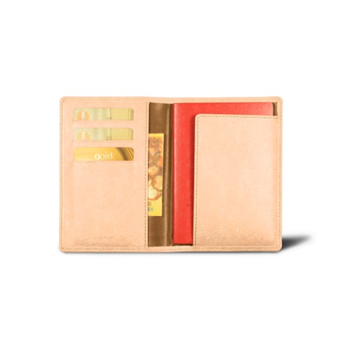 Passport and loyalty cards holder - Natural - Vegetable Tanned Leather