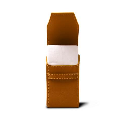 Pochette mouchoirs de poche - Safran - Cuir de Chèvre