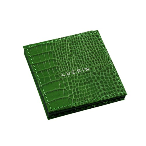 "Square pocket mirror (2.6"" x 2.6"") - Light Green - Crocodile style calfskin"