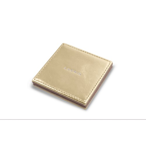 Square Pocket Mirror (6.5 x 6.5 cm) - Golden - Metallic Leather