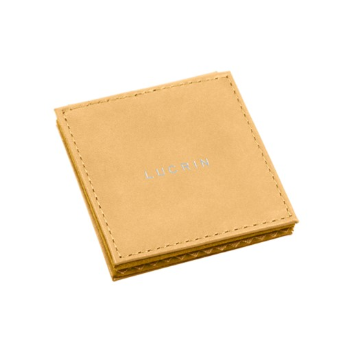 "Square pocket mirror (2.6"" x 2.6"") - Mustard Yellow - Smooth Leather"
