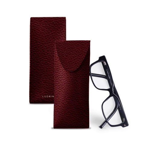 Soft Case for Glasses - Burgundy - Granulated Leather
