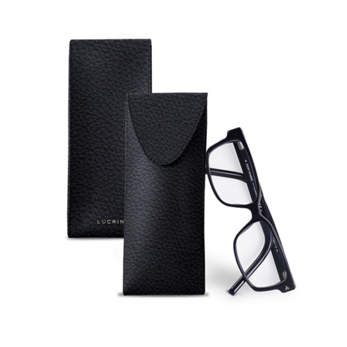 Soft Case for Glasses - Navy Blue - Granulated Leather