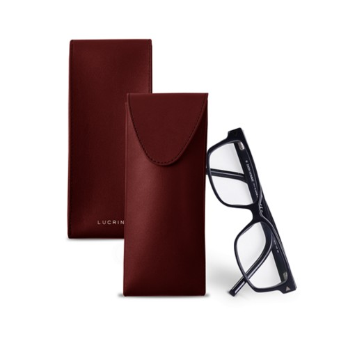 Soft Case for Glasses - Burgundy - Smooth Leather