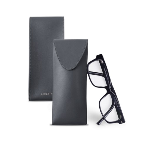 Soft Case for Glasses - Mouse-Grey - Smooth Leather