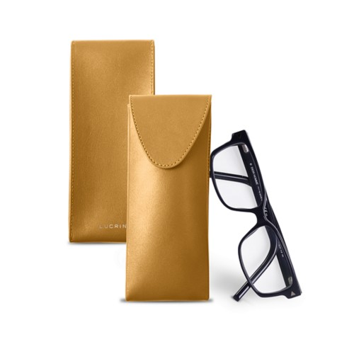 Soft Case for Glasses - Mustard Yellow - Smooth Leather