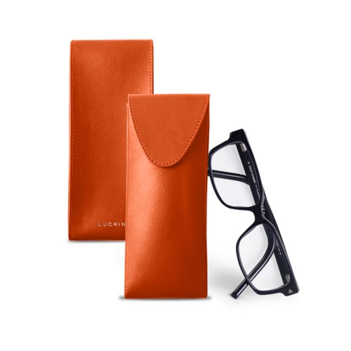 Soft Case for Glasses - Orange - Smooth Leather