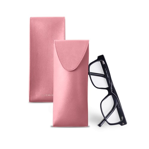 Soft Case for Glasses - Pink - Smooth Leather