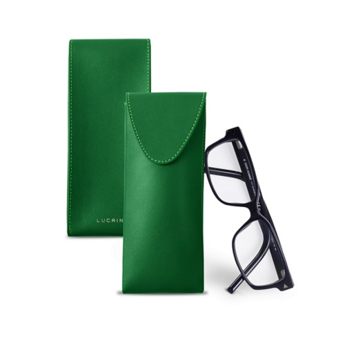Soft Case for Glasses - Light Green - Smooth Leather