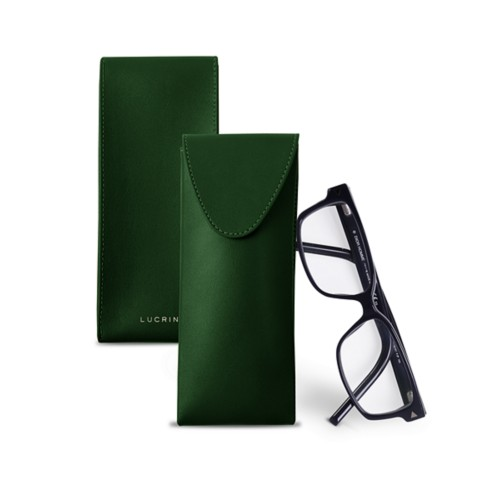 Soft Case for Glasses - Dark Green - Smooth Leather