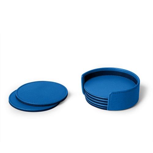 Set of 6 coasters - Royal Blue - Goat Leather