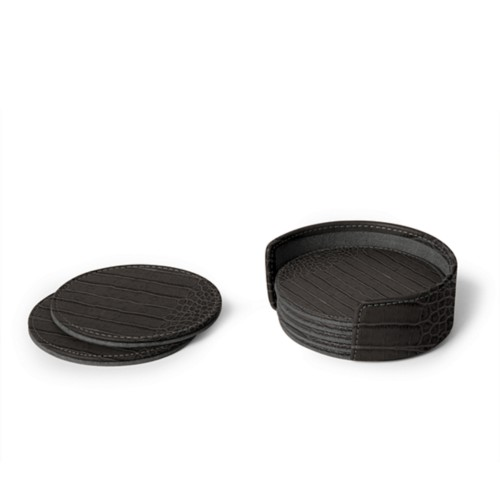 Set of 6 coasters - Mouse-Grey - Crocodile style calfskin