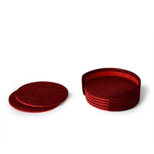 Set von 6 Untersetzern - Rot - Leder in Krokodil- Optik