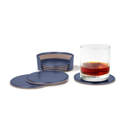 Set of 6 coasters - Navy Blue - Metallic Leather