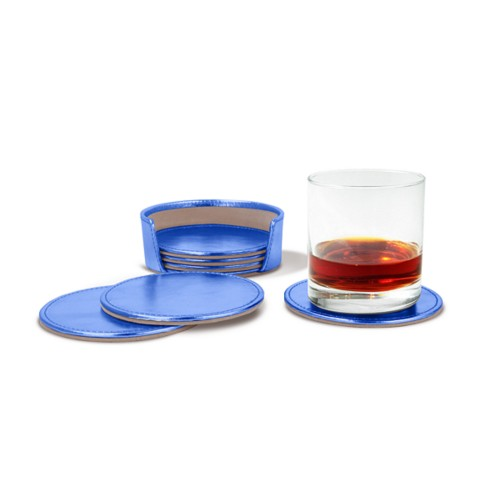 Set of 6 coasters - Royal Blue - Metallic Leather