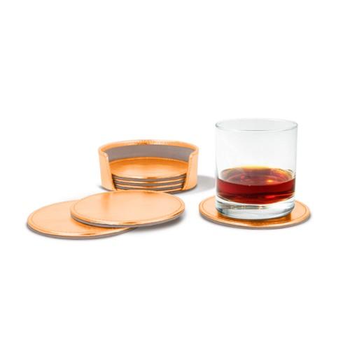 Set van 6 onderzetters - Oranje - Metallic Leer