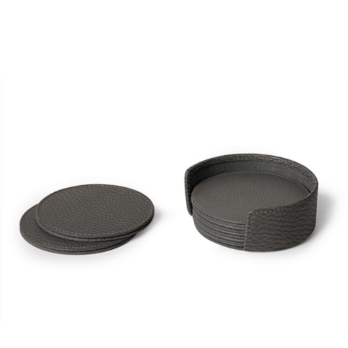 Set of 6 coasters - Mouse-Grey - Granulated Leather