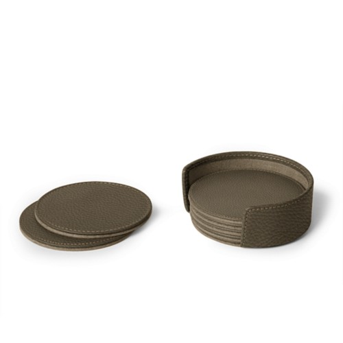 Set of 6 coasters - Dark Taupe - Granulated Leather