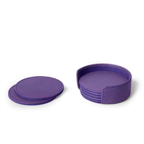 Set van 6 onderzetters - Lavendel - Korrelig Leer