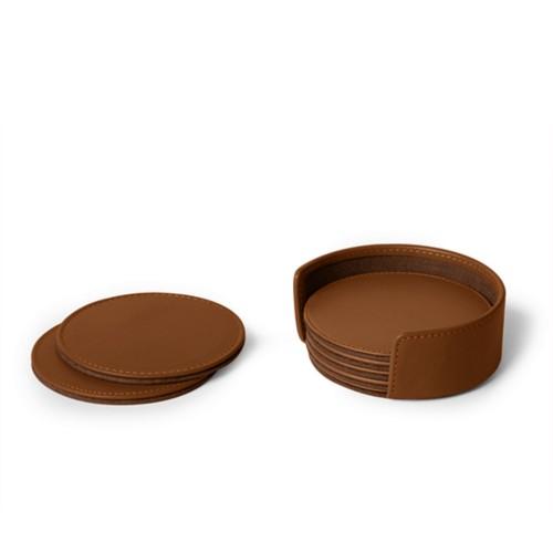 Set von 6 Untersetzern - Cognac - Glattleder