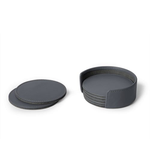 Set of 6 coasters - Mouse-Grey - Smooth Leather