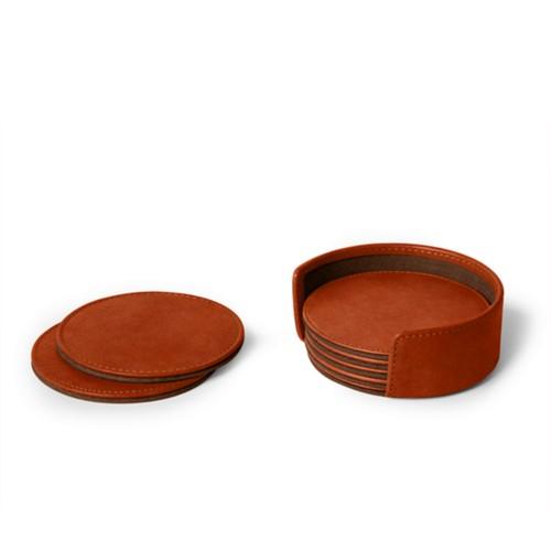 Set von 6 Untersetzern - Cognac - Pflanzlich Gegerbtes Leder