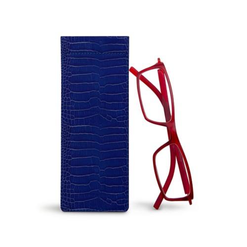 Thin eyeglasses case - Royal Blue - Crocodile style calfskin