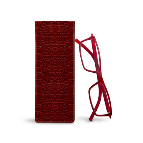 Thin eyeglasses case - Red - Crocodile style calfskin