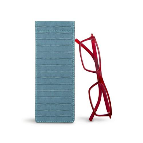 Thin eyeglasses case - Turquoise - Crocodile style calfskin