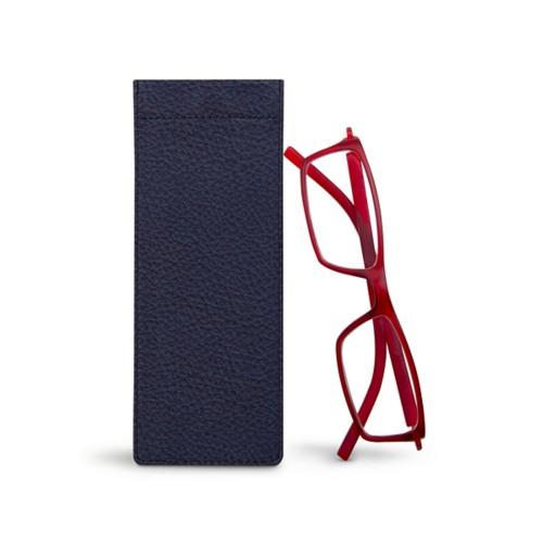 Thin eyeglasses case - Navy Blue - Granulated Leather