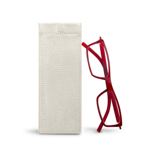 Thin eyeglasses case - Off-White - Granulated Leather