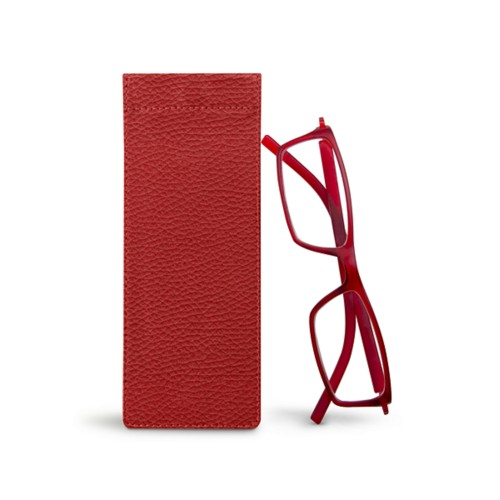 Thin eyeglasses case - Red - Granulated Leather