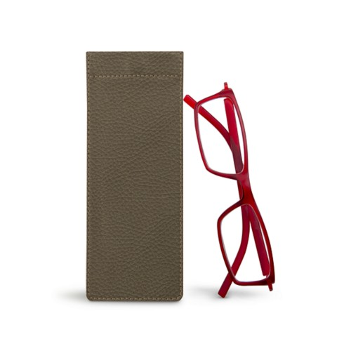 Thin eyeglasses case - Dark Taupe - Granulated Leather