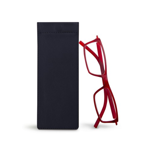 Thin eyeglasses case - Navy Blue - Smooth Leather