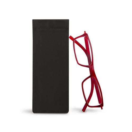 Thin eyeglasses case - Dark Brown - Smooth Leather