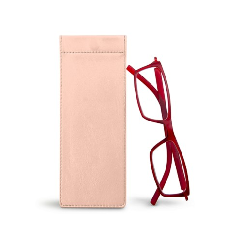 Thin eyeglasses case - Nude - Smooth Leather