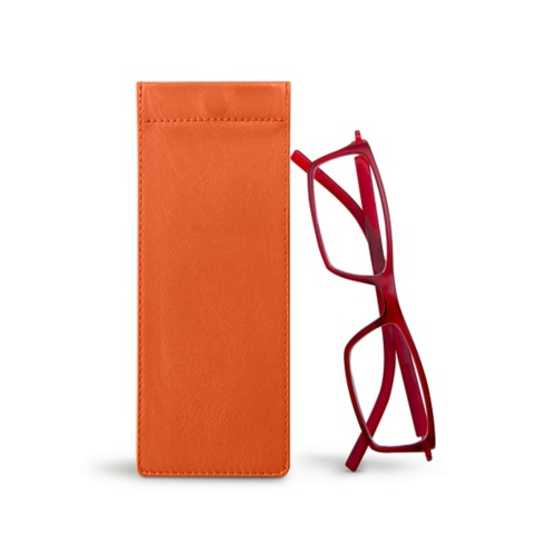 Thin eyeglasses case - Orange - Smooth Leather